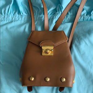 Brown leather backback